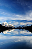 Lake Bachsee with Wetterhorn, Lauteraarhorn, Schreckhorn and Finsteraarhorn, Bachsee, Grindelwald, UNESCO World Heritage Site Swiss Alps Jungfrau - Aletsch, Bernese Oberland, Bern, Switzerland, Europe