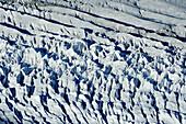 Crevasses and seracs at glacier Grosser Aletschgletscher, UNESCO World Heritage Site Swiss Alps Jungfrau - Aletsch, Bernese Alps, Valais, Switzerland, Europe
