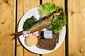 Traditional Bornholm smoked herring meal, Bornholm, Denmark, Europe