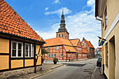 Half-timbered house and St. Mary's church, old town, Ystad, Skane, Sweden
