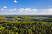 Aussicht vom Aussichtsturm Aboda über Wälder und Seen, Aboda Klint, Smaland, Südschweden, Schweden, Skandinavien, Europa