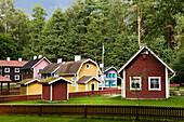 Wooden houses at Astrid Lindgren Värld, Astrid Lindgren World, Vimmerby, Smaland, South Sweden, Europe