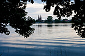 View over lake Ruppiner See at abbey church, Neuruppin, Brandenburg, Germany, Europe