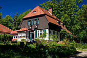 Gerhart-Hauptmann-Haus in the sunlight, Haus Seedorn, Kloster, isle of Hiddensee, Mecklenburg-Western Pomerania, Germany, Europe