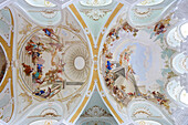 Ceiling fresco at Neresheim abbey (St. Ulrich und Afra), Neresheim, Baden-Württemberg, Germany, Europe