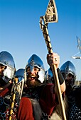 Up Helly Aa procession LERWICK SHETLAND Guizer Jarl Einar of Gullberuviks Viking cheering with axe