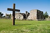 Balmerino Abbey BALMERINO FIFE Ruined 13th Century Cistercian monastery and wooden cross