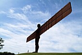 Angel of the North NEWCASTLE NORTHUMBRIA Mother and child at sculptured winged angel north England icon