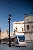 Tram, Seville, Spain Tilted lens used for shallower depth of field