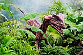 Dilophosaurus which meansdouble-crested reptile,  dinosaur from the early Jurassic period Goes to a length of 20 feet and weighted upto 1 ton Was a meat eater Belonged to the Major group: Saurischians Lizard-hips Fossil site: United States