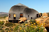 Namakwa Mountain Suite, oversized thatched, dome-shaped accommodation resembling the traditional huts of the local Nama tribe, Naries Namakwa Retreat, Naries, South Africa