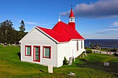 Chapelle de Tadoussac from 1747, oldest wooden church in Canada, on the bank of the St Lawrence River, Tadoussac, Canada