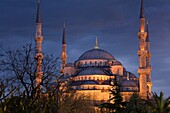 Blue Mosque or Sultan Ahmed Mosque Turkish: Sultanahmet Camii Exterior view at sunset Istambul, Turkey