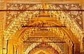 Detail of vault in Kings room Southeast Gallery Palace of the Lions Nazaries palaces Alhambra, Granada Andalusia, Spain