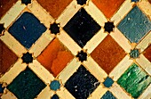 Detail of decoration tilework in Sala de Dos Hermanas two sisters room Palace of the Lions Nazaries palaces Alhambra, Granada Andalusia, Spain