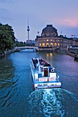 Museum Island Bode-Museum in river Spree with Fernsehturm Berlin Germany