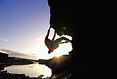 Mark Weber rock climbing bouldering The Overhang at Dierkes Lake Park in the Snake River Canyon near the city of Twin Falls Idaho USA