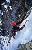 Mark Sachs, ice climbing in Trail Creek Canyon near the city of Sun Valley in central Idaho