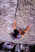 Greg Moore, rock climbing Intruding Dike on Super Hits Wall at The City Of Rocks National Reserve near Almo, Idaho