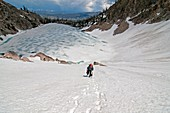 Elijah Weber climbing the Petzoldt Couloir on Mount Heyburn high in the Sawtooth Mountains of central Idaho