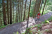 Mark Weber mountain biking at Les Grands Montets on Le Lavancher Trail above the towns of Argentiere and Chamonix France