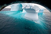 Iceberg detail in and around the Antarctic Peninsula during the summer months, Southern Ocean MORE INFO An increasing number of icebergs is being created as climate change is causing the breakup of major ice shelves and glaciers