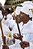 groups of dancers and musicans are celebrating a ritual in front of the priests with the tabot Timkat ceremony of the ethiopian orthodox church in Addis Ababa timkat or Epiphany is the biggest church cerimony of the orthodox church Replicas of the tabl