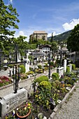 Schenna Scena near Meran Merano with parish church Maria Aufnahme, cemetery and palace, castle Schenna is one of the most popular destinations in South Tyrol Europe, Central Europe, Eastern Alps, South Tyrol, Italy, May 2010