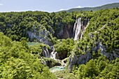 The Plitvice Lakes in the National Park Plitvicka Jezera in Croatia The big Fall Veliki slap The Plitvice Lakes are a string of lakes connected by waterfalls They are in a valley, which becomes a canyon in the lower parts of the National Park The wate