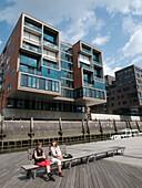 Modern apartment buildings constructed Sandtorhafen in new Hafencity property development in Hamburg Germany