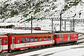 Glacier express train, Oberalp pass, Canton Uri, Switzerland