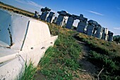 Carhenge, near Alliance, Nebraska, USA, 2004  Carhenge is a replica of England's Stonehenge located near the city of Alliance, Nebraska on the High Plains Instead of being made from stones, Carhenge is constructed of vintage American automobiles, all c