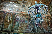 Interiors of wooden Dormition church 1656, Novoselitsa, Zakarpattia Oblast Transcarpathian Oblast, Transcarpathia, Zakarpattya, Subcarpathian Rus, Ukraine