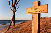 Keep off! sign in dunes, West Coast, Darss, Baltic sea spa Ahrenshoop, Mecklenburg-Western Pomerania, Germany