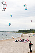 Kite surfer at Cospuden Lake, Leipzig, Saxony, Germany