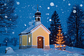 chapel with christmas tree at snowfall, Upper Bavaria, Germany, Europe