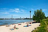 People on the beach at the river Rhine, Düsseldorf, Duesseldorf, North Rhine-Westphalia, Germany, Europe