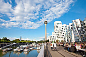 Modern buildings under clouded sky, Neuer Zollhof, Frank O. Gehry, Media Harbour, Düsseldorf, Duesseldorf, North Rhine-Westphalia, Germany, Europe