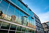Reflection on glass facade, Media Harbour, Düsseldorf, Duesseldorf, North Rhine-Westphalia, Germany, Europe