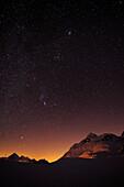 Starry sky above Berninapass, UNESCO World Heritage Site Rhaetien Railway, Raetien Railway, Albula-Bernina-line, Bernina range, Upper Engadin, Engadin, Grisons, Switzerland, Europe