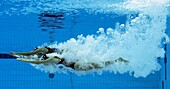 Olivia Allison and Jenna Randal of Great Britain compete in duet technical routine during the synchronished swiming event, on day ten of the 2008 Beijing Olympics