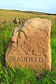 Stone village boundary marker, Bradfield, Peak District National Park, Sheffield, South Yorkshire, England, UK