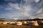 Traditional Gers of a touristic camp, Gobi desert, Mongolia