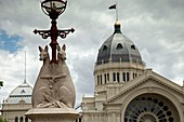 kangaroo statues on a lantern at the Royal Exhibition Building, UNESCO world heritage in Melbourne, Victoria, Australia