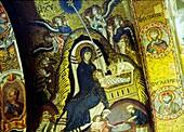 Mosaic nativity scene in the Nave vault of La Martorana Mediaeval church in the city of Palermo, Sicily, Italy