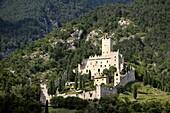 Castello di Sabbionara mediaeval castle at Avio in the Sud Tirol Alto Adige region of Italy