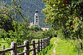 Riverside path to the church of San Pancrazio beside the Mediaeval walled town of Glurns, Glorenza Val Venosta, Italian Alps