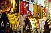 Banners and symbolic helmets of the Order of Saint Patrick in the choir of St Patrick's Cathedral, Dublin, Ireland
