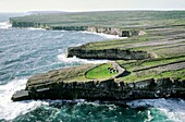 Dun Duchathair ancient Celtic stone fort on limestone cliffs of Inishmore, largest of the Aran Islands, County Galway, Ireland