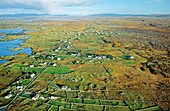 Typical Connemara landscape of rocky terrain, small marginal farms, tidal inlets and small lakes County Galway, west Ireland